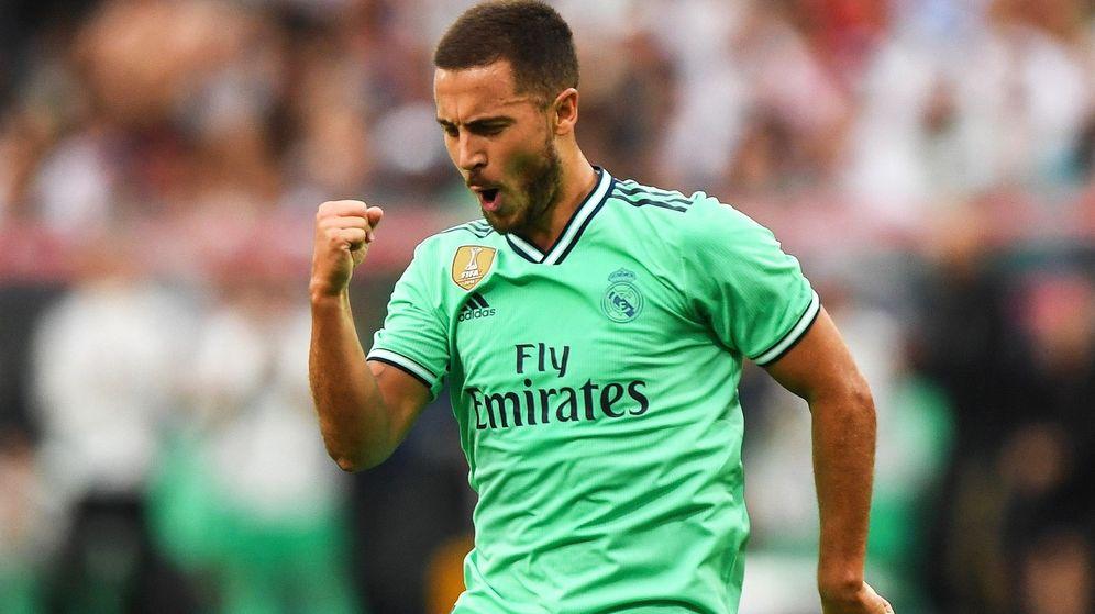 Foto: Hazard celebró al fin su primer gol como jugador del Real Madrid. (EFE)