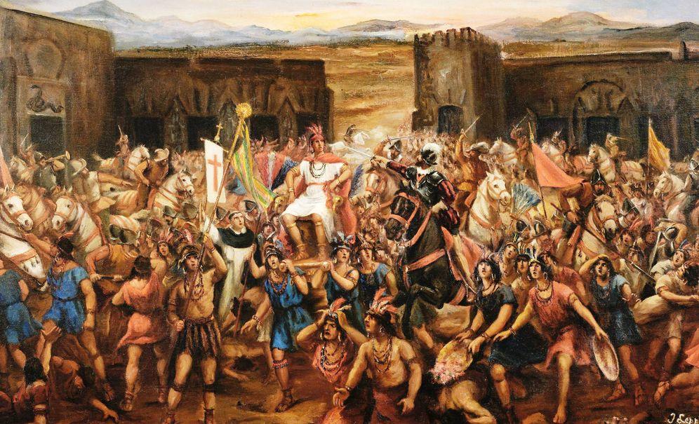 Foto: Óleo de Juan Lepiani que representa la captura de Atahualpa en Cajamarca (1532).