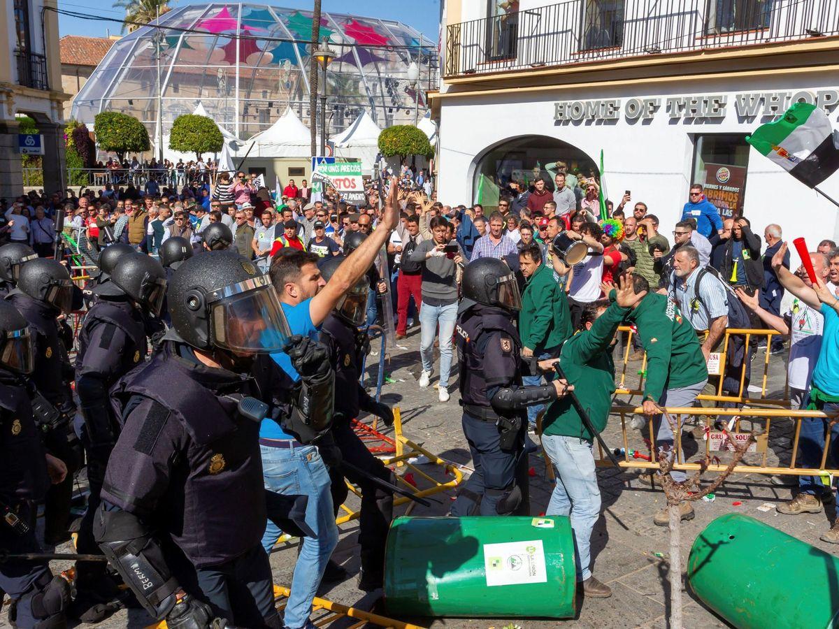 Foto: Manifestación de los agricultores extremeños este viernes en Mérida. (EFE)