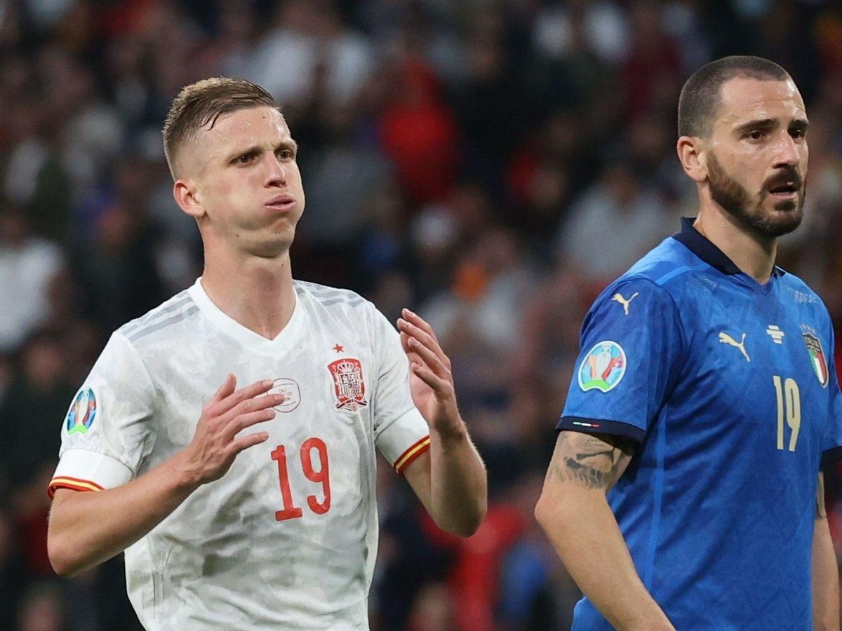 Foto: Dani Olmo lamenta una ocasión en el partido contra Italia. (Efe)