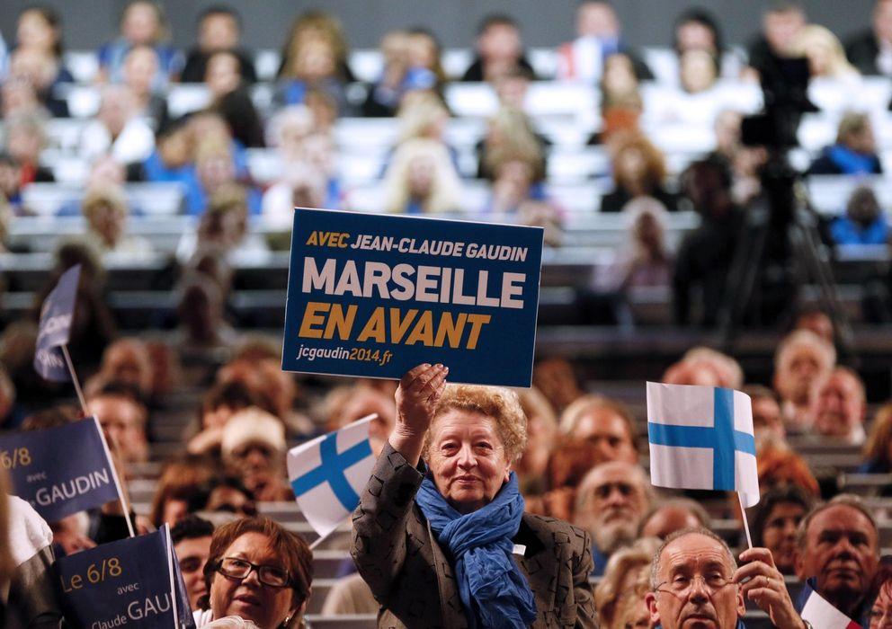 Foto: Simpatizantes del candidato de la UMP en Marsella, Jean-Claude Gaudin, durante un mitin este jueves (Reuters).