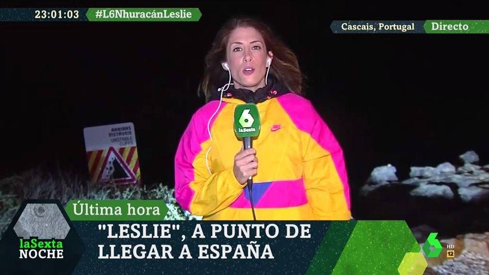 Una reportera de La Sexta se la juega informando del huracán Leslie en directo