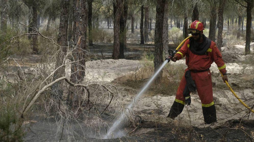 Foto:  Un hombre trabaja en la extinción del incendio, en Moguer. (EFE)