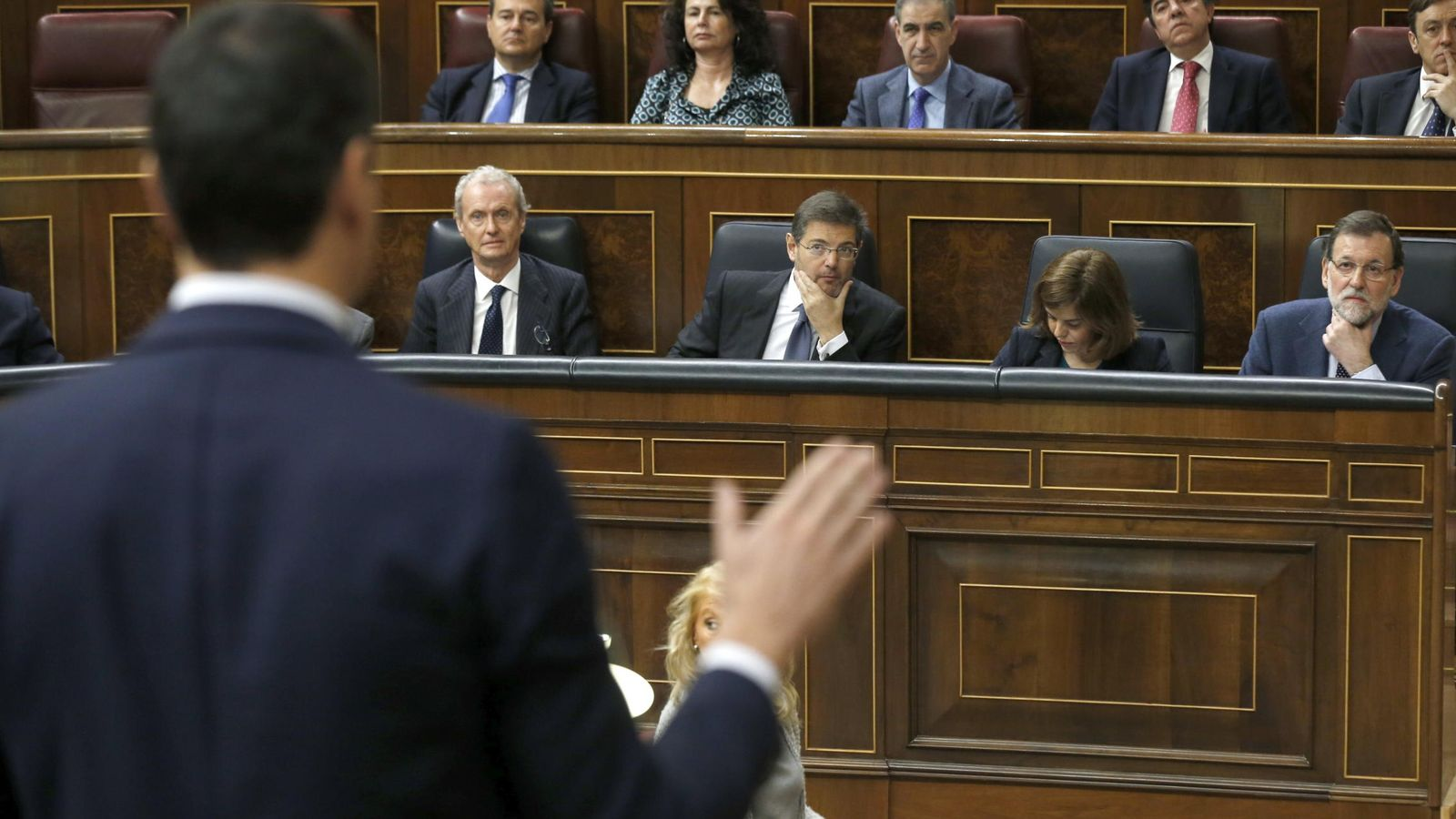 Foto:  El secretario general del PSOE y líder de la oposición, Pedro Sánchez, durante su intervención hoy en la sesión de control (Efe)