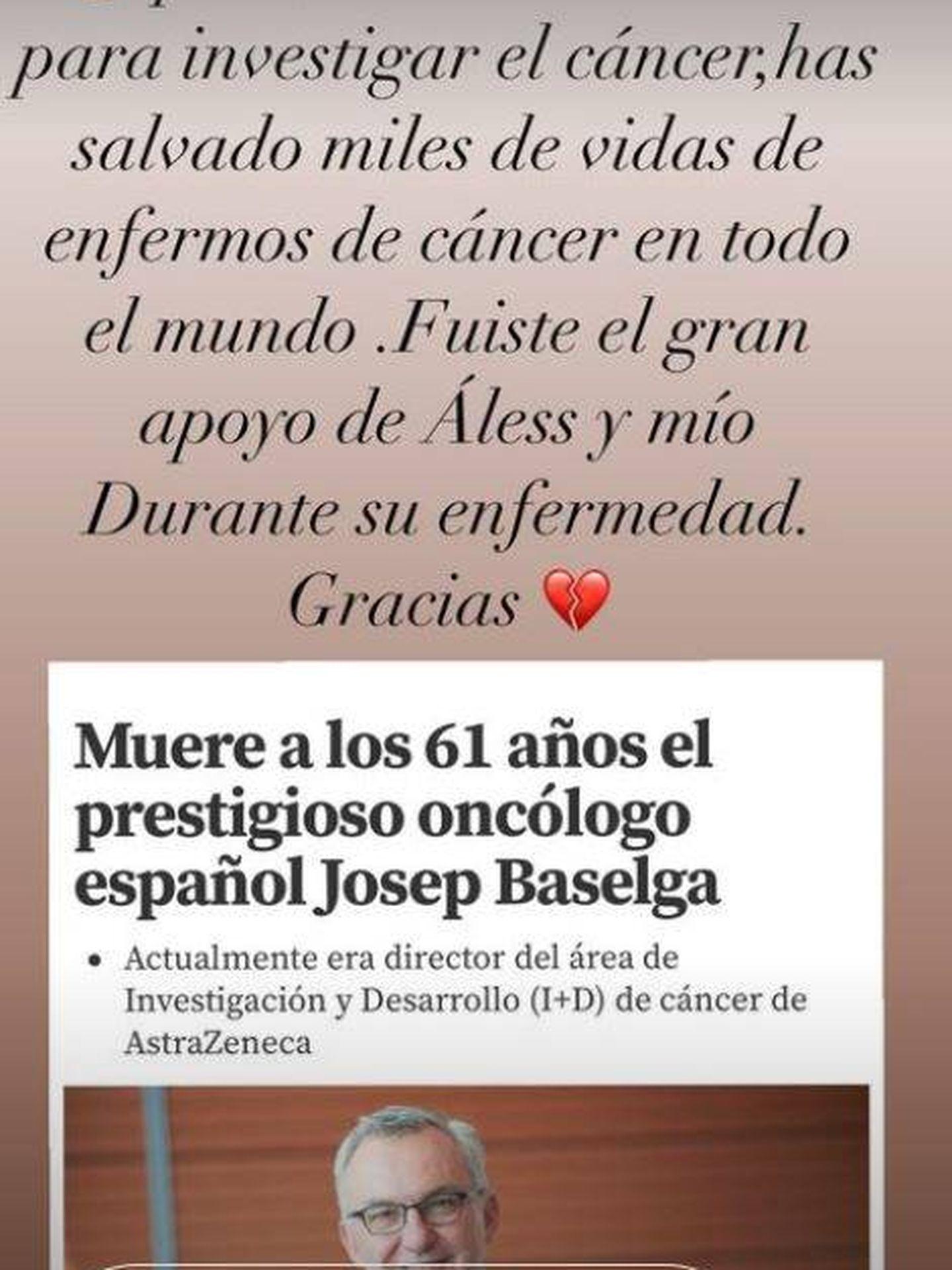 Stories con el que Ana Obregón se despide del oncólogo.