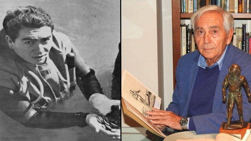 Foto: Frederic Malagelada, a la izquierda, tras encontrar el tesoro en Sitges. Malagelada, a la derecha, en su casa de Sitges.