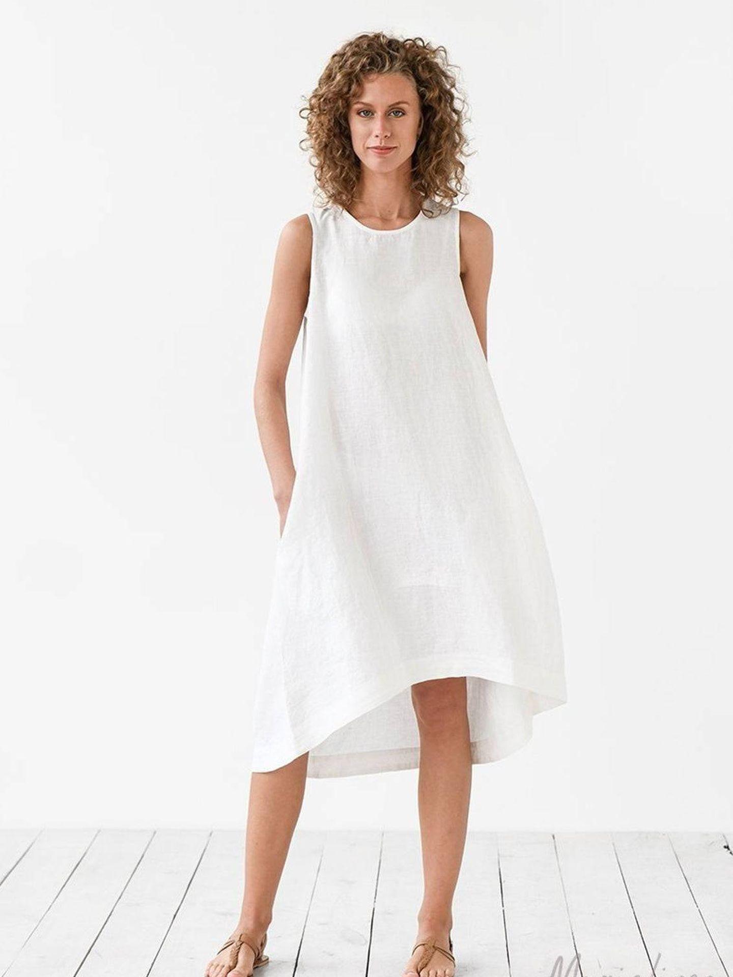 El vestido de Magic Linen que lleva Meghan Markle. (Cortesía)