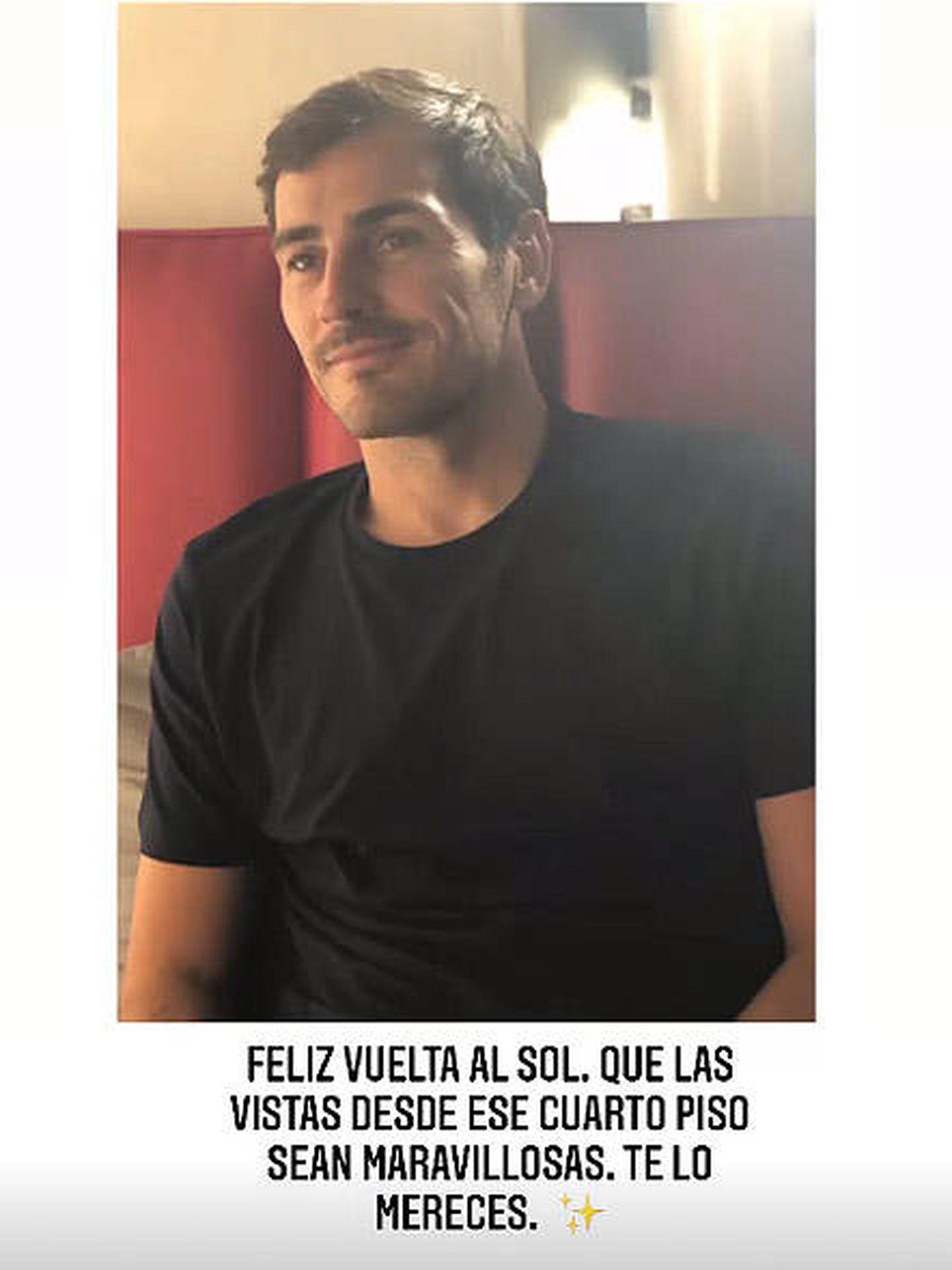 El 'stories' con el que Carbonero ha felicitado a Iker. (Instagram)