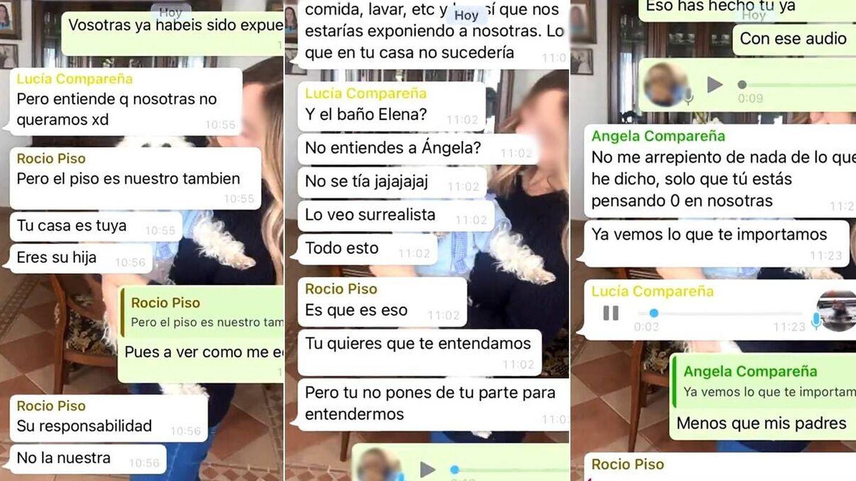 Capturas de la conversación de WhatsApp de Elena Cañizares y sus compañeras de piso. (Twitter @elenacanizares_)