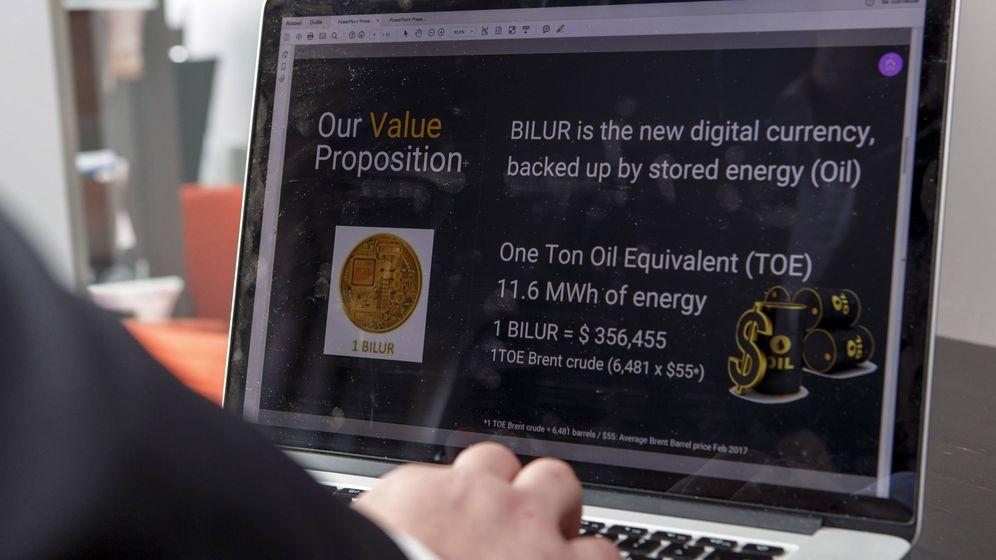 Foto: Presentación de la moneda virtual 'bilur' en Ginebra. (EFE)