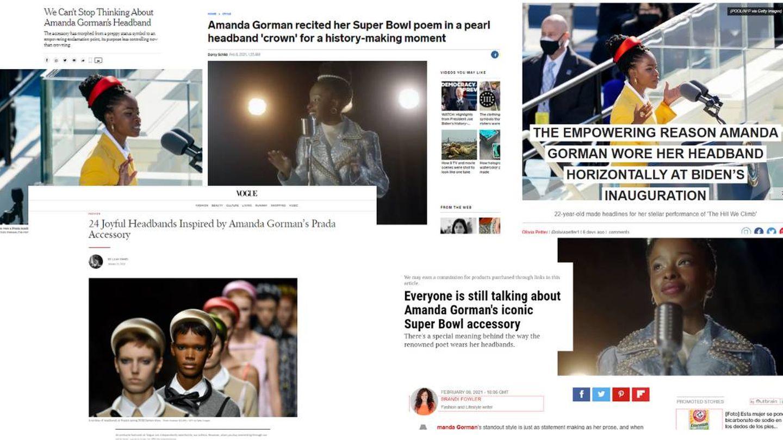 Artículos de 'Vogue', 'The New York Times', 'The Independent', 'Insider' y 'Hello Magazine' sobre Amanda Gorman.