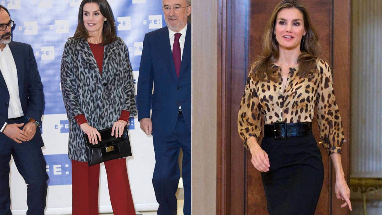 La reina Letizia viste animal print. (Getty)