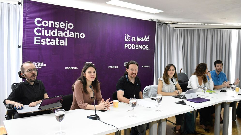 Foto: Parte de la ejecutiva de Podemos, liderada por Pablo Iglesias, durante el último Consejo Ciudadano Estatal. (EFE)