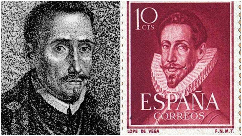 Grabado de Lope de Vega y sello en su honor de 195. (Getty/Correos)