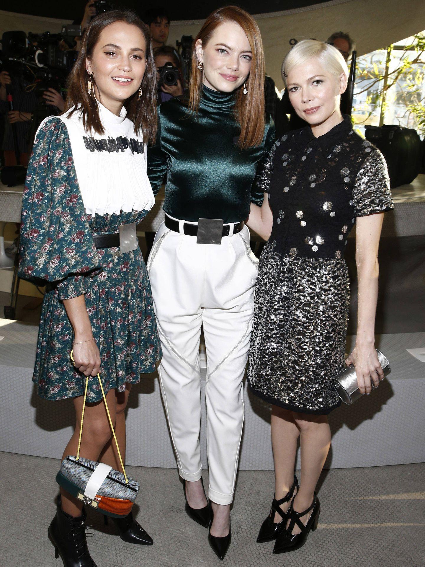 Alicia Vikander, Emma Stone y Michelle Williams. (Getty)