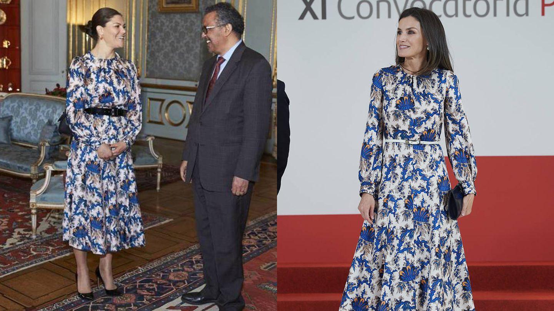 Victoria de Suecia y la reina Letizia, con vestido de flores de Sandro. (Getty)