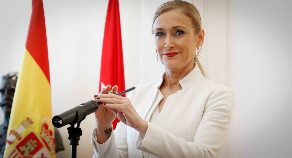 Foto: Cristina Cifuentes durante su discurso de dimisión. (Gtres)