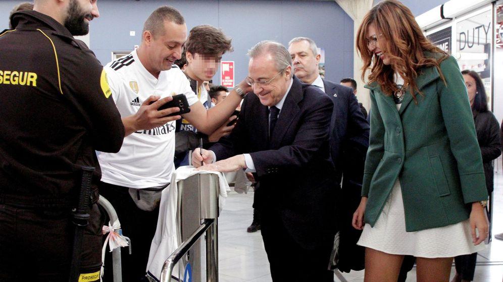 Foto: Florentino Pérez a su llegada a Melilla. (EFE)