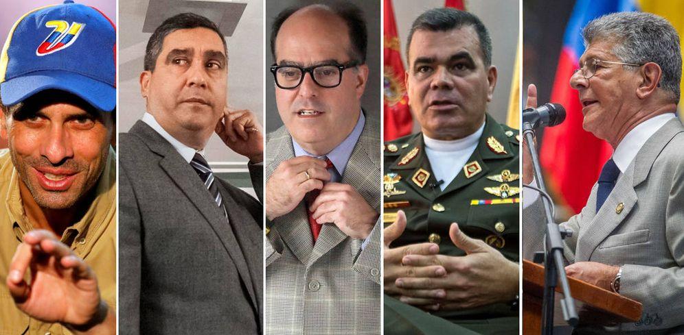 Foto: De izquierda a dcha.: Henrique Capriles, Miguel Rodríguez Torres, Julio Borges, Vladimir Padrino López y Henry Ramos Allup.
