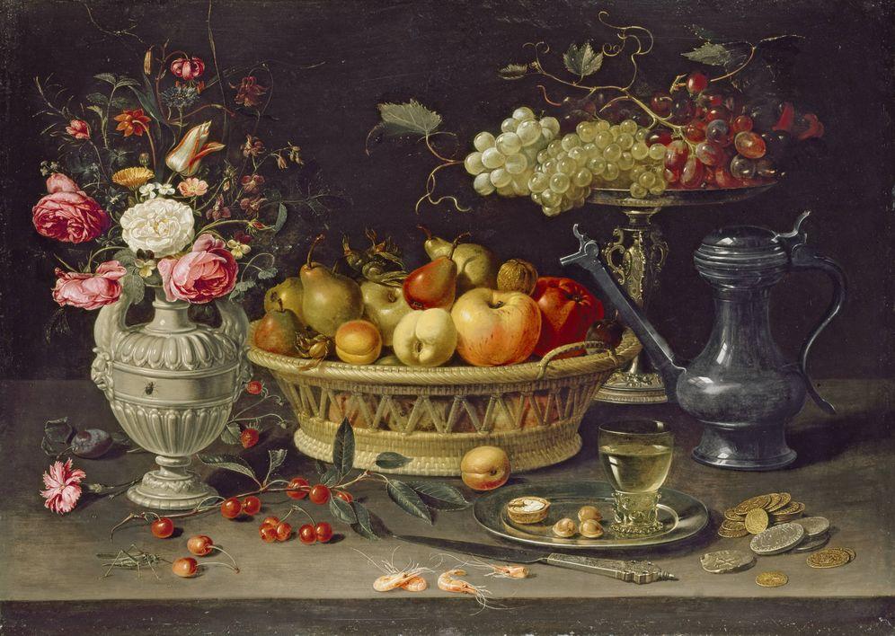 Foto: 'Bodegón con flores, copa de plata dorada, almendras, frutos secos, dulces, panecillos, vino y jarra de peltre', Clara Peeters (1611) (Museo Nacional del Prado)