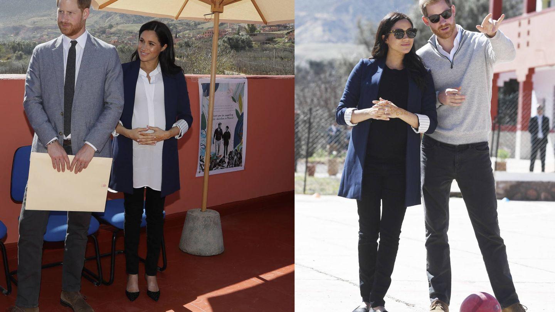 Diferentes versiones del look de Meghan Markle en Marruecos. (EFE)