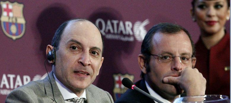 Foto: El presidente del FC Barcelona, Sandro Rosell (d), y el consejero delegado de Qatar Airways, Akbar Al Albaker. (EFE)