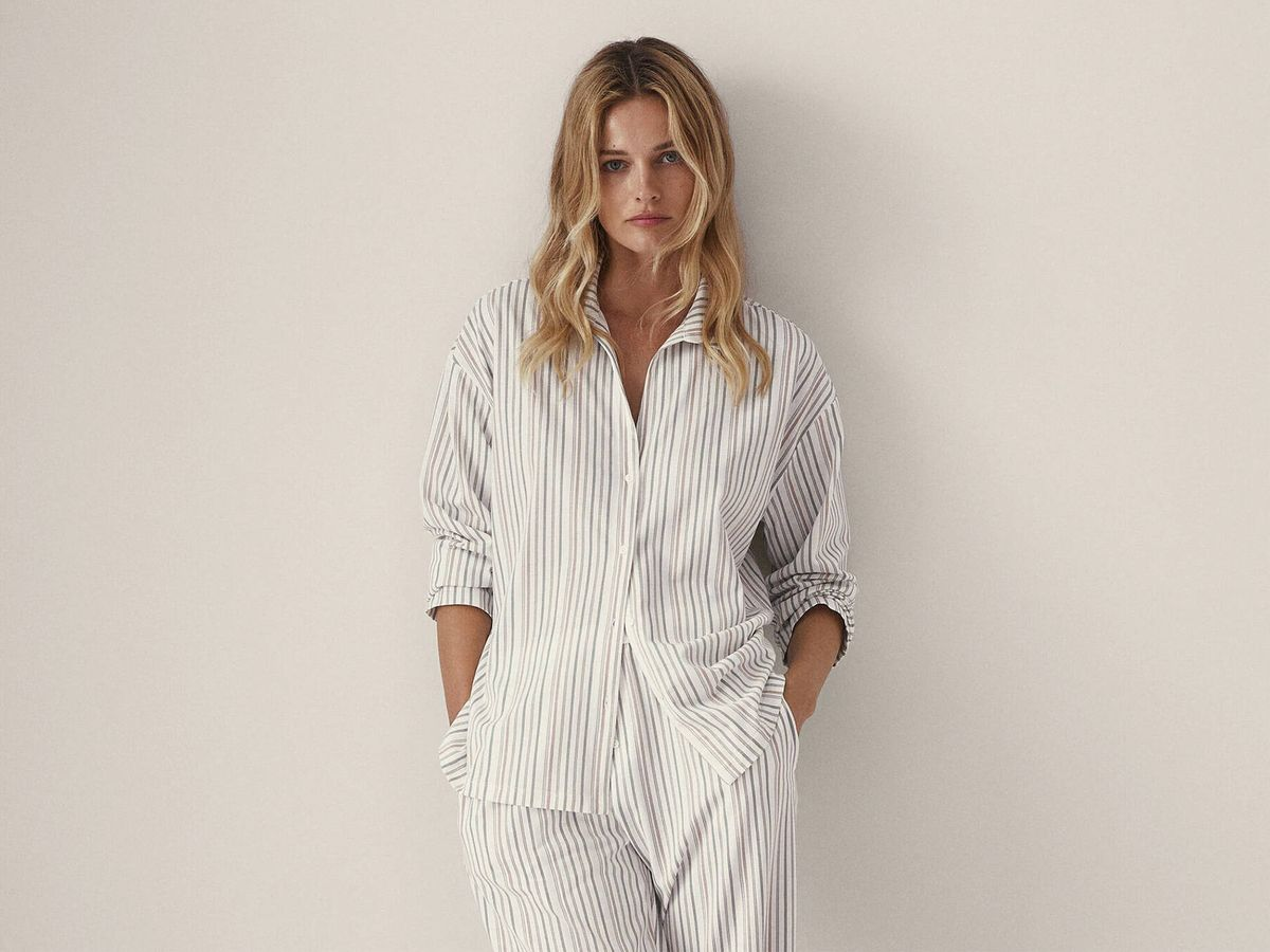 Foto: Conjunto de pijama de la nueva sección de lencería y homewear de Massimo Dutti. (Cortesía)