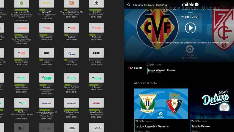 A la izquierda los canales disponibles en la app de Movistar+, a la derecha en MiTele. En el segundo se pueden ver dos partidos, mientras que en el primero solo el emitido en Movistar La Liga.