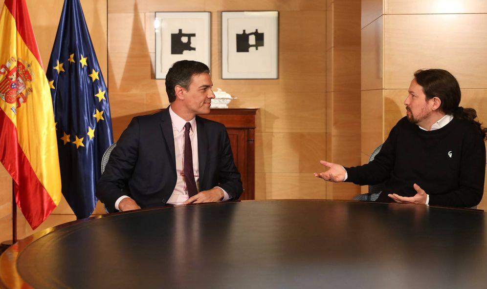 Foto: Pedro Sánchez y Pablo Iglesias, durante su reunión en el Congreso de los Diputados, este 11 de junio. (Inma Mesa   PSOE)