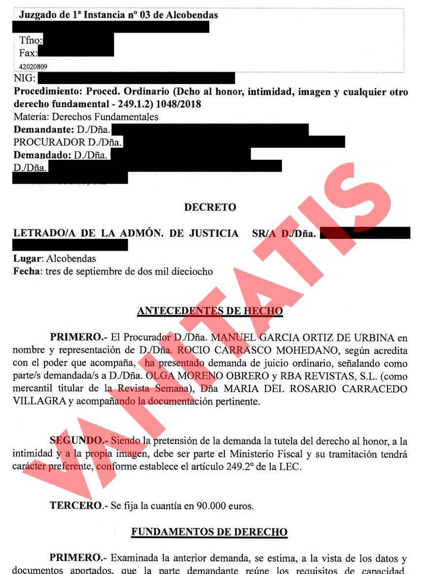 Decreto de admisión de la demanda.