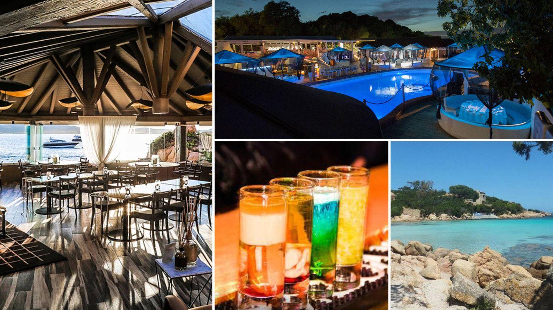 Siguiendo el sentido de las agujas del reloj: Phi Beach; Country Porto Rotondo; Playa de Capriccioli; Porto Cervo y Billionaire.