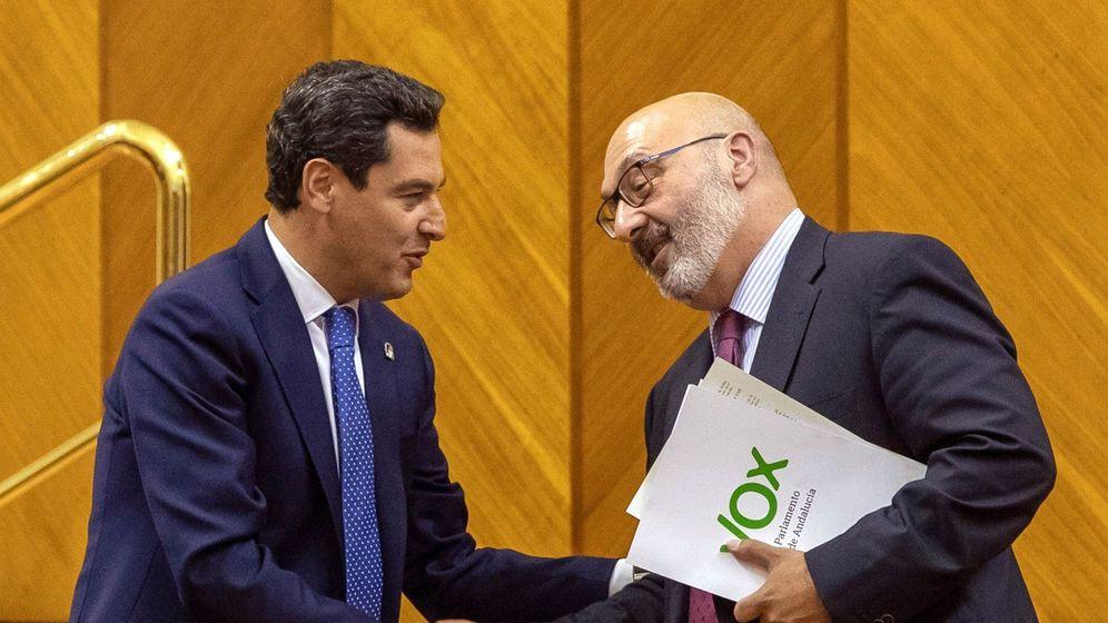 Foto: Juanma Moreno, junto al portavoz de Vox, Alejandro Hernández. (EFE)