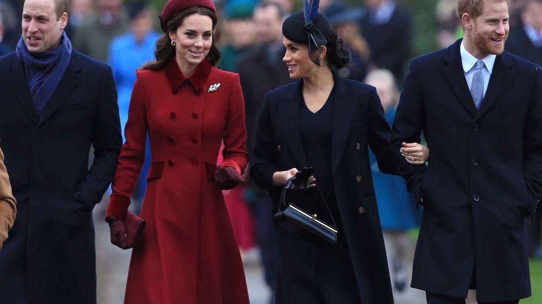 El príncipe Guillermo, Kate Middleton, Meghan Markle y el príncipe Harry, en una imagen de archivo. (Getty)