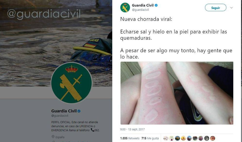 Foto: Captura del Twitter de la Guardia Civil compartiendo una nueva chorrada viral.