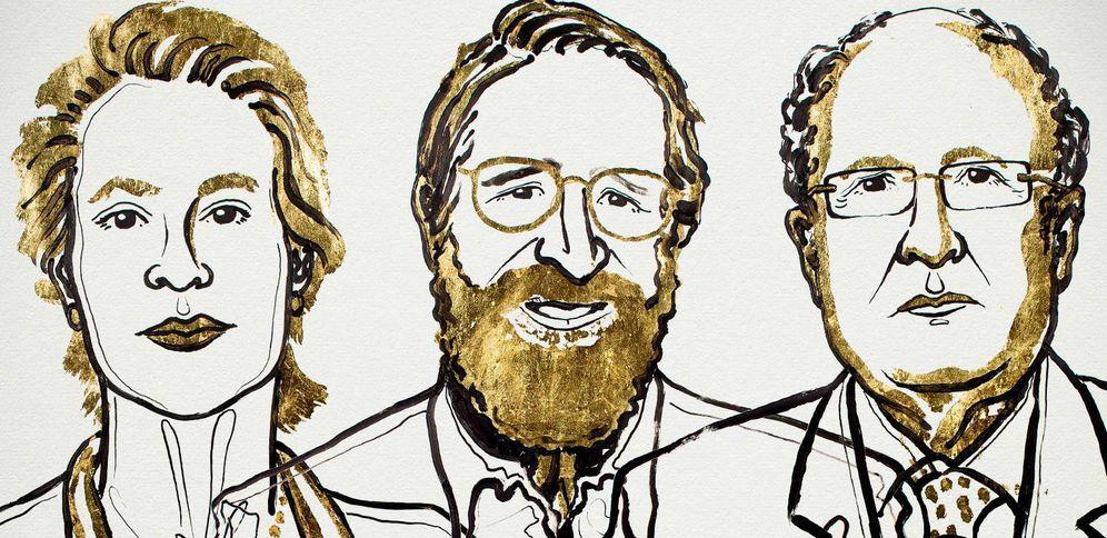 Foto: De izquierda a derecha, los científicos Frances H. Arnold, George P. Smith y Sir Gregory P. Winter.