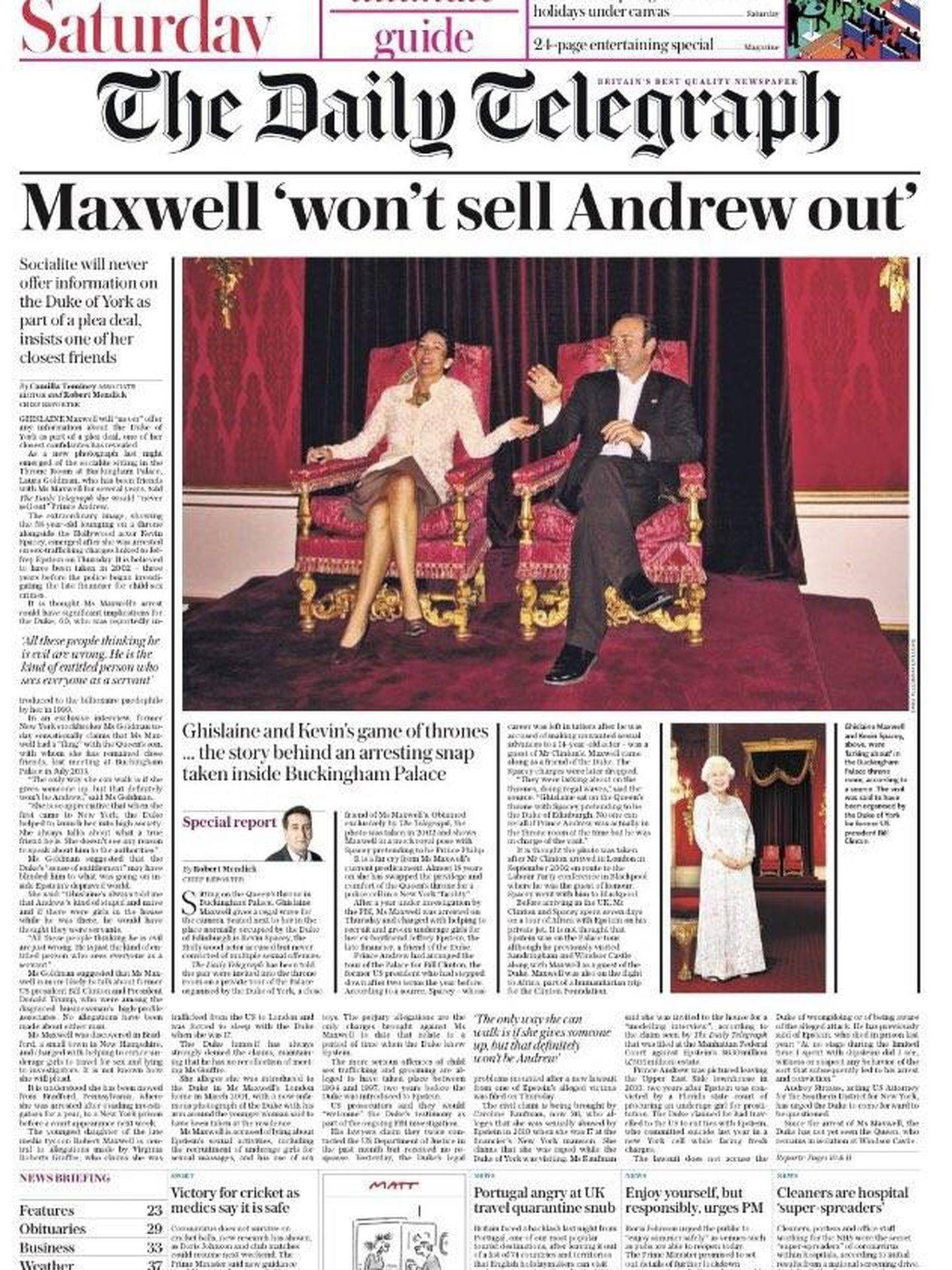 La portada del 'Daily Telegraph', con Kevin Spacey y Ghislaine Maxwell en Buckingham.