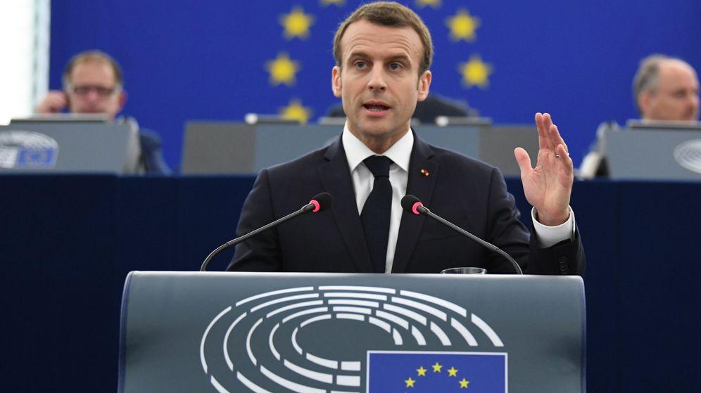 Foto: El presidente francés, Emmanuel Macron, durante su intervención.
