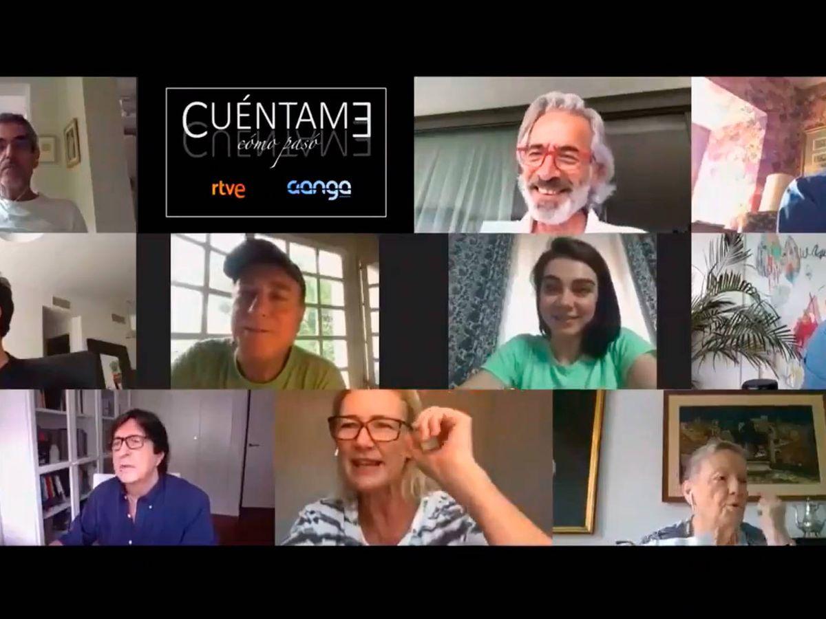 Foto: Los actores de Cuéntame cómo pasó tuvieron que leer el primer guion de la nueva temporada por videollamada (Foto: Twitter)