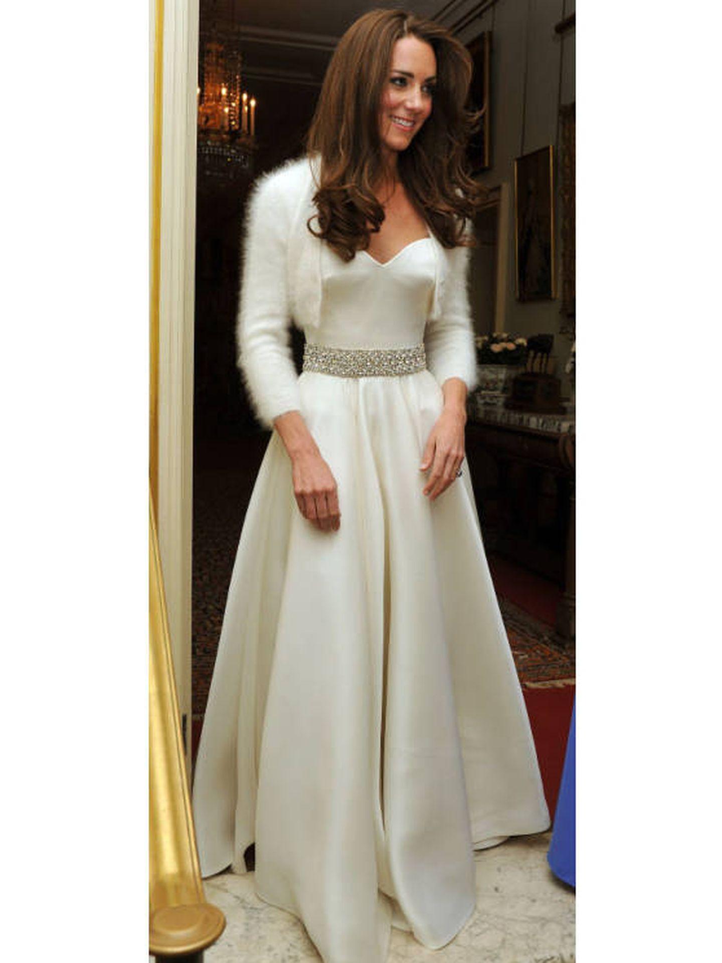 Kate Middleton, con su segundo vestido de novia el 29 de abril de 2011. (Getty)