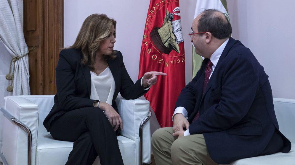 Foto: La presidenta andaluza, Susana Díaz, y el líder del PSC, Miquel Iceta. (EFE)