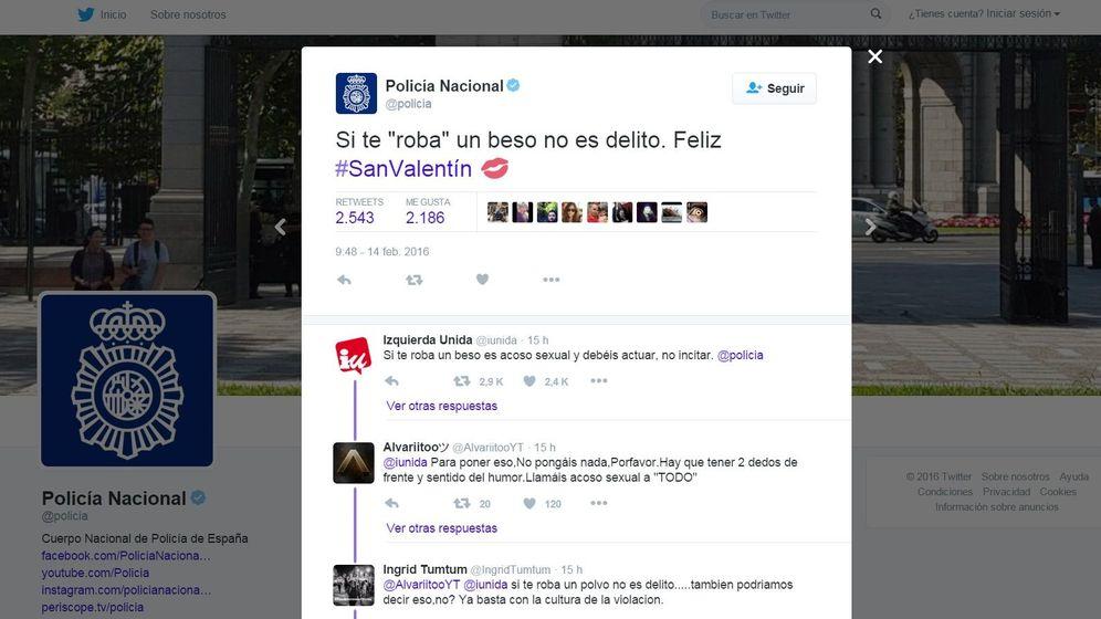 Foto: El polémico tuit publicado por la Policía sobre el 'robo de besos'