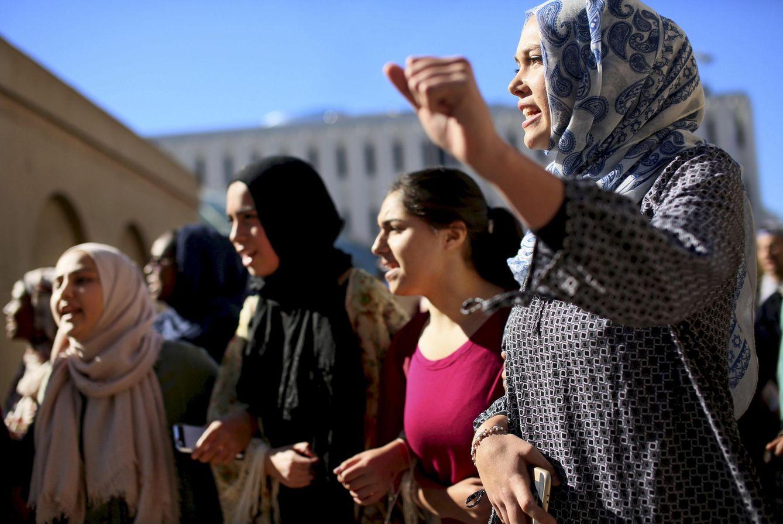Foto: Protesta contra la islamofobia de estudiantes musulmanes en la Universidad de San Diego, California, el 23 de noviembre de 2015 (Reuters).