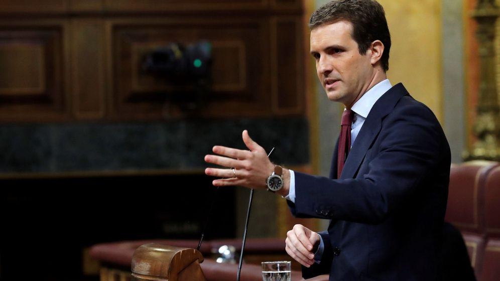 Foto: El líder del PP, Pablo Casado, durante su intervención. (EFE)