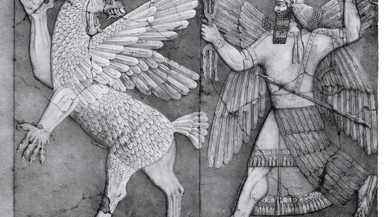 El monstruo del caos y el dios del Sol de la cultura babilónica. (Wikipedia)