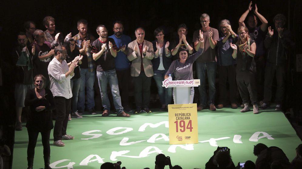 Foto: La número dos de la Candidatura d'Unitat Popular, CUP, Anna Gabriel, durante el acto electoral de cierre de campaña en Badalona. (EFE)