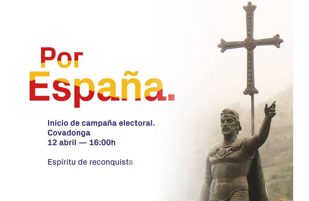 Foto: Imagen de inicio de campaña de Vox Asturias en Covadonga.