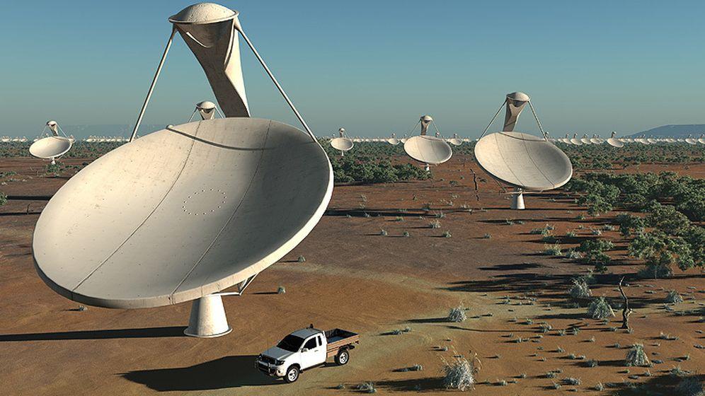 Foto: Recreación de cómo será la red africana de telescopios del desierto de Karoo.