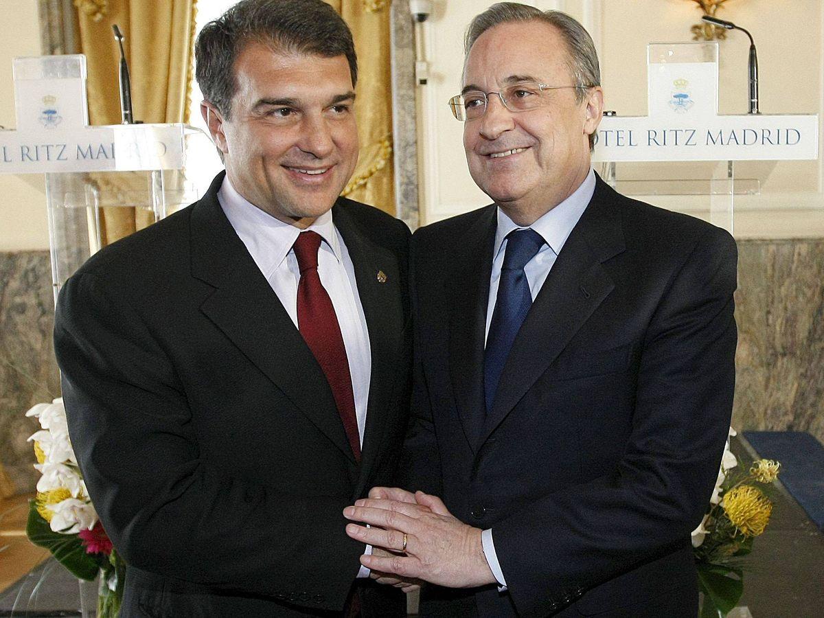 Foto: Laporta, presidente del Barcelona, y Florentino, del Real Madrid. (Efe)
