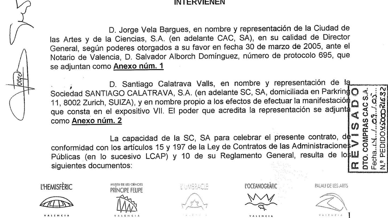 Documento del contrato del Ágora de Valencia entre la Ciudad de las Ciencias y la sociedad suiza Santiago Calatrava SA.