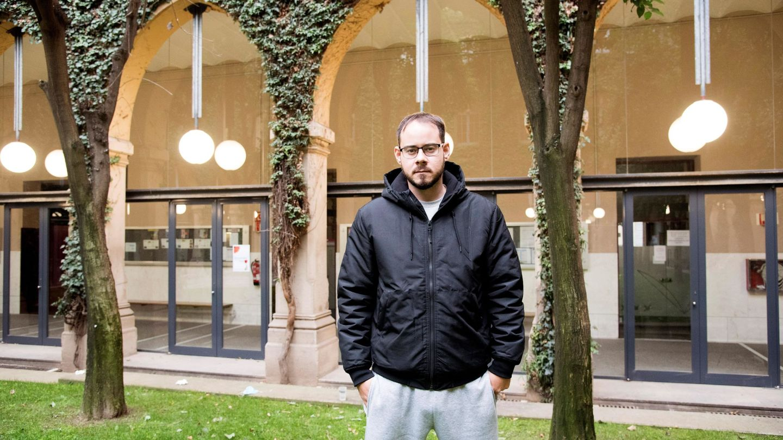 Pablo Hasél en la Universidad de Lleida, antes de ser detenido. (EFE)